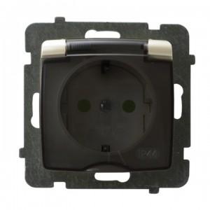 Ospel Karo GPH-1SSP/m/42/d - Gniazdo bryzgoszczelne z uziemieniem typu Schuko IP-44 i przesłonami torów prądowych wieczko przezroczyste - Ecru perłowy - Podgląd zdjęcia producenta