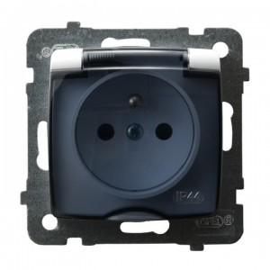 Ospel Karo GPH-1SZ/m/00/d - Gniazdo bryzgoszczelne z uziemieniem IP-44 wieczko przezroczyste - Biały - Podgląd zdjęcia producenta