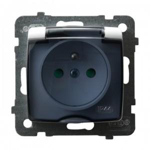 Ospel Karo GPH-1SZP/m/00/d - Gniazdo bryzgoszczelne z uziemieniem IP-44 z przesłonami torów prądowych wieczko przezroczyste - Biały - Podgląd zdjęcia producenta