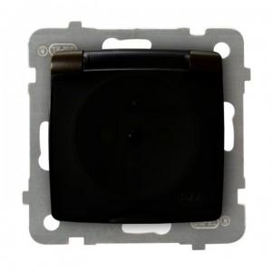 Ospel Karo GPH-1SZP/m/40/d - Gniazdo bryzgoszczelne z uziemieniem IP-44 z przesłonami torów prądowych wieczko przezroczyste - Czekoladowy Metalik - Podgląd zdjęcia producenta