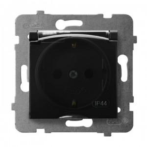 Ospel Aria GPH-1US/m/33/d - Gniazdo bryzgoszczelne z uziemieniem typu Schuko IP-44 wieczko przezroczyste - Czarny Metalik - Podgląd zdjęcia producenta
