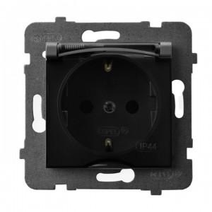Ospel Aria GPH-1US/m/70/d - Gniazdo bryzgoszczelne z uziemieniem typu Schuko IP-44 wieczko przezroczyste - Szary Mat. - Podgląd zdjęcia producenta