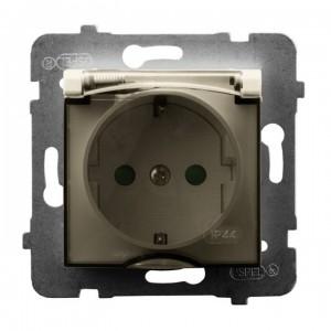 Ospel Aria GPH-1USP/m/27/d - Gniazdo bryzgoszczelne z uziemieniem typu Schuko IP-44 i przesłonami torów prądowych wieczko przezroczyste - Ecru - Podgląd zdjęcia producenta