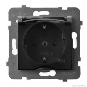 Ospel Aria GPH-1USP/m/70/d - Gniazdo bryzgoszczelne z uziemieniem typu Schuko IP-44 i przesłonami torów prądowych wieczko przezroczyste - Szary Mat. - Podgląd zdjęcia producenta