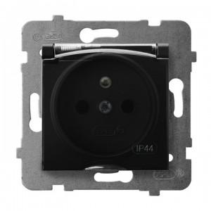 Ospel Aria GPH-1UZ/m/33/d - Gniazdo bryzgoszczelne z uziemieniem IP-44 wieczko przezroczyste - Czarny Metalik - Podgląd zdjęcia producenta
