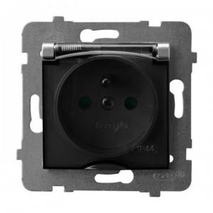 Ospel Aria GPH-1UZP/m/18/d - Gniazdo bryzgoszczelne z uziemieniem IP-44 i przesłonami torów prądowych wieczko przezroczyste - Srebro - Podgląd zdjęcia producenta