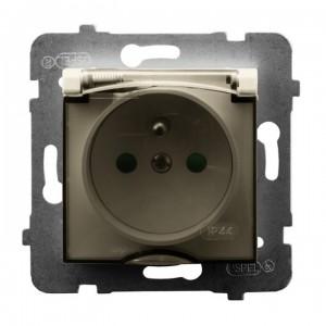 Ospel Aria GPH-1UZP/m/27/d - Gniazdo bryzgoszczelne z uziemieniem IP-44 i przesłonami torów prądowych wieczko przezroczyste - Ecru - Podgląd zdjęcia producenta
