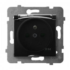 Ospel Aria GPH-1UZP/m/33/d - Gniazdo bryzgoszczelne z uziemieniem IP-44 i przesłonami torów prądowych wieczko przezroczyste - Czarny Metalik - Podgląd zdjęcia producenta