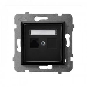 Ospel Aria GPK-1U/K/m/33 - Gniazdo komputerowe pojedyncze, kat. 5e MMC - Czarny Metalik - Podgląd zdjęcia producenta