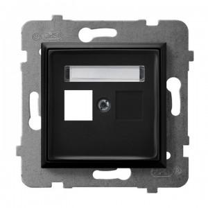 Ospel Aria GPK-1U/p/33 - Obudowa gniazda pojedynczego typu Keystone prosta - Czarny Metalik - Podgląd zdjęcia producenta