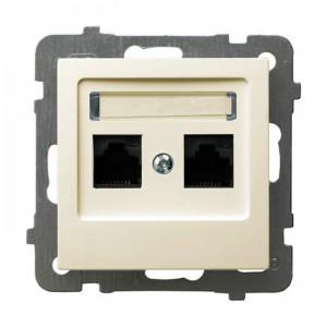 Ospel As GPK-2G/K/m/27 - Gniazdo komputerowe podwójne, kat. 5e MMC - Ecru - Podgląd zdjęcia producenta