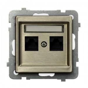 Ospel Sonata Nowe Srebro GPK-2RM/K/m/44 - Gniazdo komputerowe podwójne, kat. 5e MMC - Nowe Srebro - Podgląd zdjęcia producenta