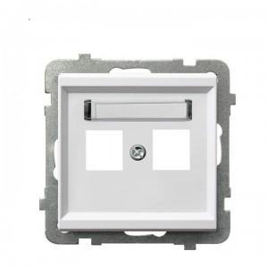 Ospel Sonata GPK-2R/p/00 - Obudowa gniazda podwójnego typu Keystone prosta - Biały - Podgląd zdjęcia producenta