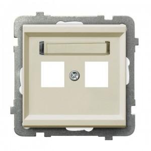 Ospel Sonata GPK-2R/p/27 - Obudowa gniazda podwójnego typu Keystone prosta - Ecru - Podgląd zdjęcia producenta