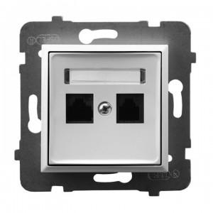 Ospel Aria GPK-2U/K/m/00 - Gniazdo komputerowe podwójne, kat. 5e MMC - Biały - Podgląd zdjęcia producenta