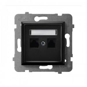 Ospel Aria GPK-2U/K/m/33 - Gniazdo komputerowe podwójne, kat. 5e MMC - Czarny Metalik - Podgląd zdjęcia producenta