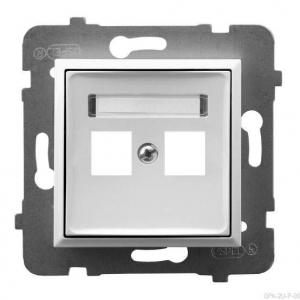 Ospel Aria GPK-2U/p/00 - Obudowa gniazda podwójnego typu Keystone prosta - Biały - Podgląd zdjęcia producenta