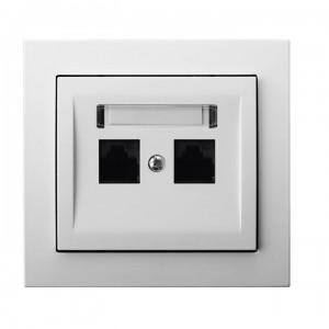 Ospel Kier GPK-2W/K6/00 - Gniazdo komputerowe podwójne, kat. 6 MMC - Biały - Podgląd zdjęcia producenta