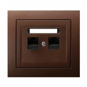 Ospel Kier GPK-2W/K6/52 - Gniazdo komputerowe podwójne, kat. 6 MMC - Brązowy Metalik - Podgląd zdjęcia producenta