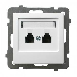 Ospel As GPT-2GR/m/00 - Gniazdo telefoniczne podwójne równoległe - Biały - Podgląd zdjęcia producenta