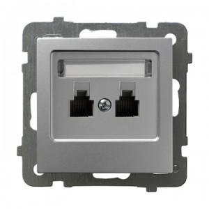 Ospel As GPT-2GR/m/18 - Gniazdo telefoniczne podwójne równoległe - Srebro - Podgląd zdjęcia producenta