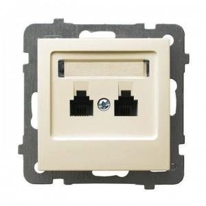 Ospel As GPT-2GR/m/27 - Gniazdo telefoniczne podwójne równoległe - Ecru - Podgląd zdjęcia producenta