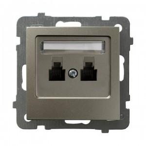 Ospel As GPT-2GR/m/45 - Gniazdo telefoniczne podwójne równoległe - Satyna Light - Podgląd zdjęcia producenta
