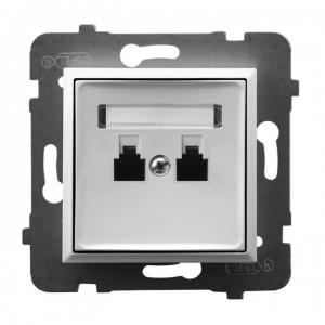 Ospel Aria GPT-2UR/m/00 - Gniazdo telefoniczne podwójne równoległe - Biały - Podgląd zdjęcia producenta
