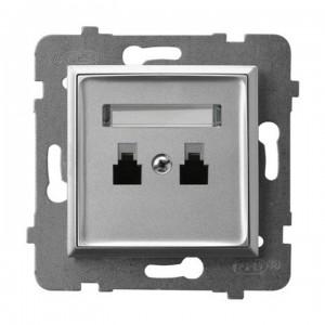 Ospel Aria GPT-2UR/m/18 - Gniazdo telefoniczne podwójne równoległe - Srebro - Podgląd zdjęcia producenta