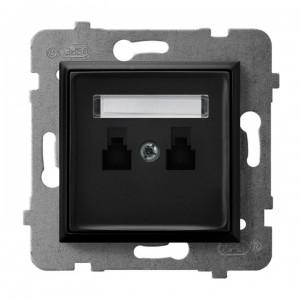 Ospel Aria GPT-2UR/m/33 - Gniazdo telefoniczne podwójne równoległe - Czarny Metalik - Podgląd zdjęcia producenta