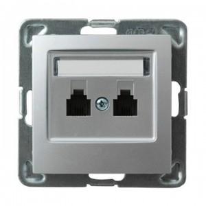 Ospel Impresja GPT-2YN/m/18 - Gniazdo telefoniczne podwójne niezależne - Srebro - Podgląd zdjęcia producenta