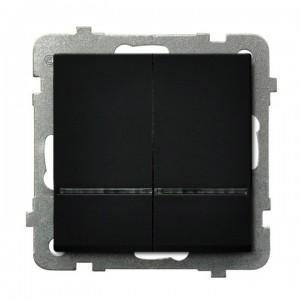 Ospel Sonata ŁP-2RS/m/33 - Łącznik podwójny z podświetleniem w kolorze Niebieskim 16A - Czarny Metalik - Podgląd zdjęcia producenta