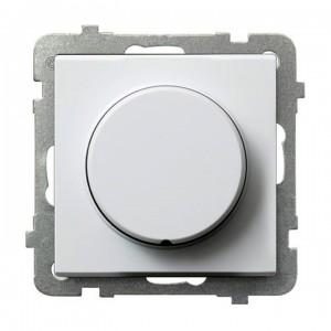 Ospel Sonata ŁP-8R/m/00 - Ściemniacz naciskowo-obrotowy 40-400W (Nie współpracuje z LED!) - Biały - Podgląd zdjęcia producenta
