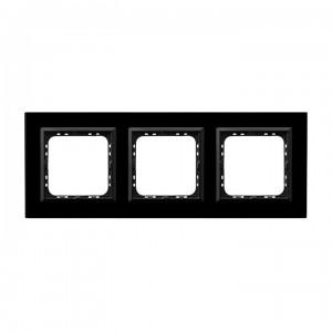 Ospel Sonata R-3RGC/32/25 - Ramka potrójna Szklana - Czarne Szkło (4mm) - Podgląd zdjęcia producenta