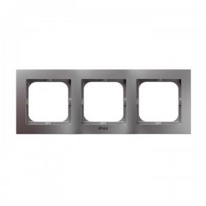 Ospel As RH-3G/18 - Ramka potrójna do łączników IP-44 - Srebro - Podgląd zdjęcia producenta