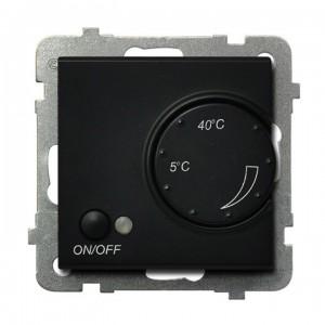 Ospel Sonata RTP-1RN/m/33 - Regulator temperatury z czujnikiem wewnętrznym, pokojowym - Czarny Metalik - Podgląd zdjęcia producenta