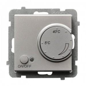 Ospel Sonata RTP-1RN/m/38 - Regulator temperatury z czujnikiem wewnętrznym, pokojowym - Srebro Mat - Podgląd zdjęcia producenta
