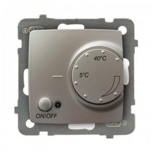 Ospel Karo RTP-1SN/m/43 - Regulator temperatury z czujnikiem wewnętrznym, pokojowy - Srebrny Perłowy - Podgląd zdjęcia producenta