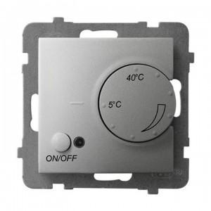 Ospel Aria RTP-1UN/m/18 - Regulator temperatury z czujnikiem wewnętrznym, pokojowym - Srebro - Podgląd zdjęcia producenta